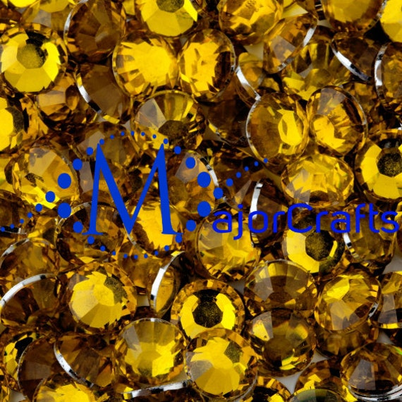 Citrine Yellow Flat Back Round Resin Rhinestones Embellishment Gems C22