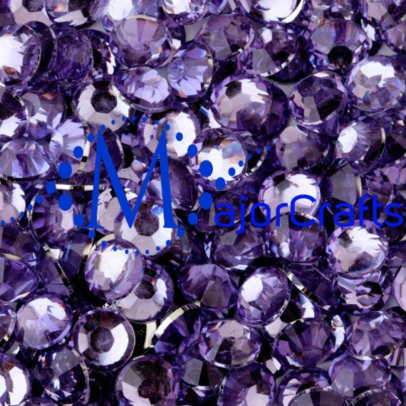Lilac Purple Flat Back Round Resin Rhinestones Embellishment Gems C12