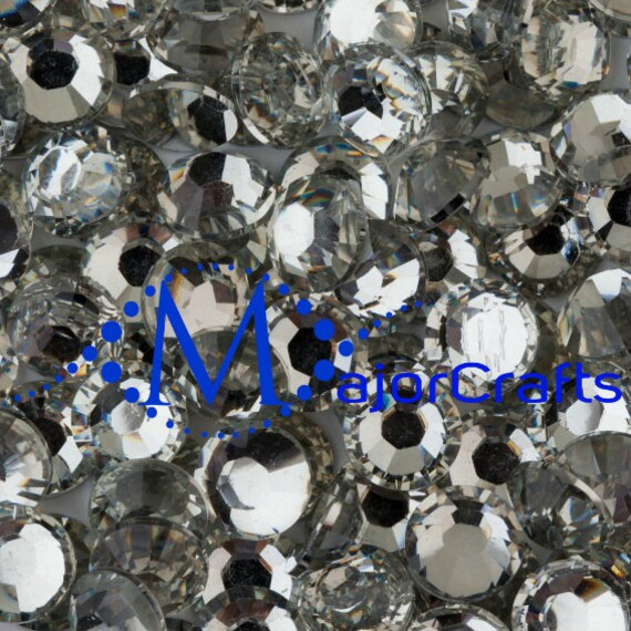 Crystal Clear Flat Back Round Resin Rhinestones Embellishment Gems C29