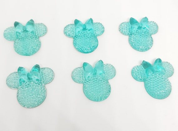 MajorCrafts® 6pcs Sky Blue 28mm Flat Back Mouse Head & Bow Resin Rhinestones Gems