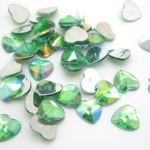 Green AB Heart Flat Back Pointed Rivoli Resin Rhinestones Embellishment Gems C16