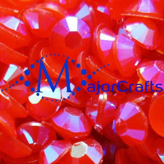 Red AB Flat Back Round Resin Rhinestones Embellishment Gems C53
