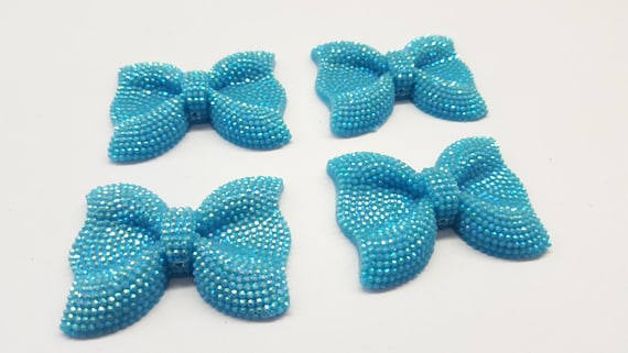 MajorCrafts® 3pcs 54mm Sky Blue AB Large Flat Back Chunky Resin Rhinestone Embellishment Bows C19