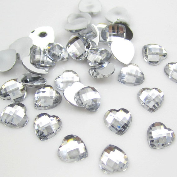 Crystal Clear Heart Flat Back Checked Faceted Resin Rhinestones Embellishment Gems C2