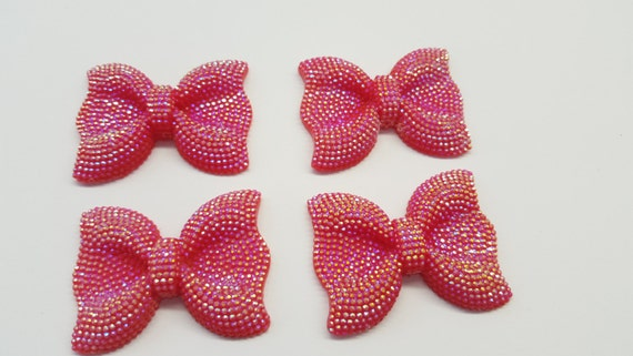 MajorCrafts® 3pcs 54mm Red AB Large Flat Back Chunky Resin Rhinestone Embellishment Bows C6