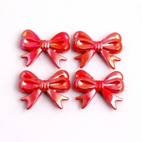 MajorCrafts® 4pcs Red AB 46*36mm Large Chunky Acrylic Embellishment Bows C7