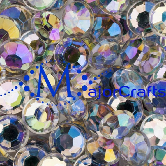 Crystal AB Flat Back Round Taiwan Acrylic Rhinestones Embellishment Gems - C38