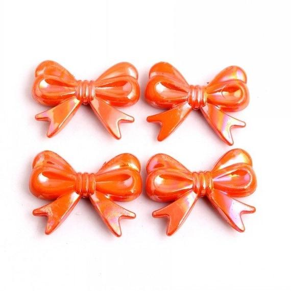 MajorCrafts® 4pcs Orange AB 46*36mm Large Chunky Acrylic Embellishment Bows C5