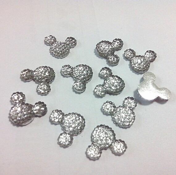40pcs Crystal Clear 14mm Flat Back Mouse Head Resin Rhinestones Gems