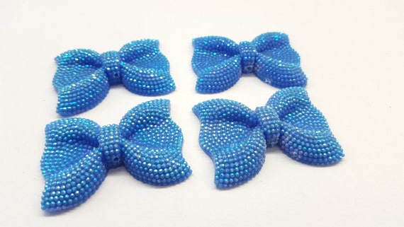 MajorCrafts® 3pcs 54mm Light Blue AB Large Flat Back Chunky Resin Rhinestone Embellishment Bows C20