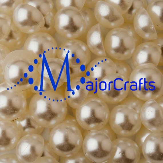 Cream Ivory Flat Back Half Round Resin Pearls Craft Embellishment Gems C14