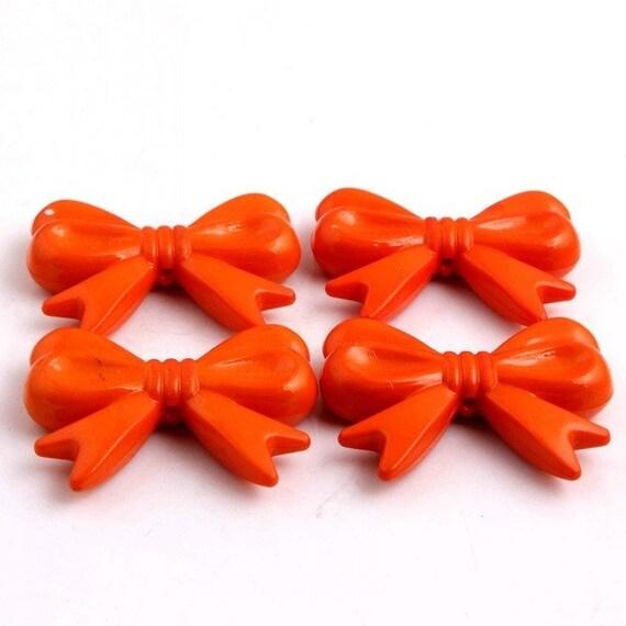 MajorCrafts® 4pcs Orange 46*36mm Large Chunky Acrylic Embellishment Bows C20