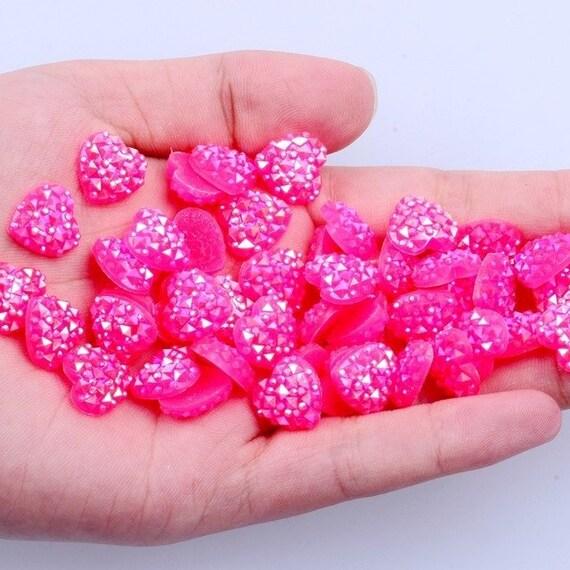 MajorCrafts® 60pcs 12mm Candy Rose Pink AB Flat Back Heart Resin Rhinestones Embellishment Gems C07