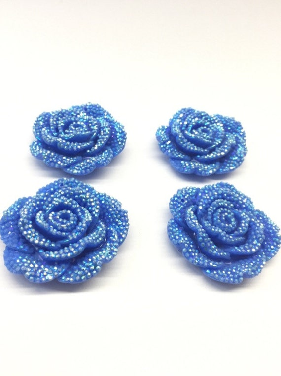 MajorCrafts 3pcs Light Blue AB 42mm Large Flat Back Chunky Resin Rhinestone Rose Flower Embellishments C1