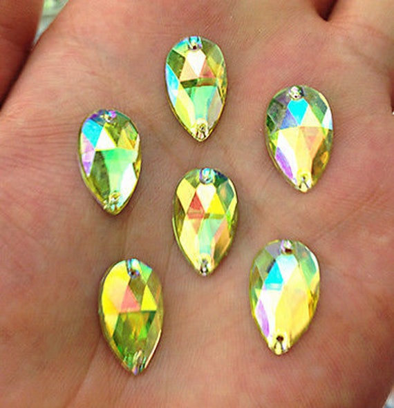 50pcs Light Yellow AB 18mm*11mm Flat Back Tear Drop Sew On Acrylic Rhinestones Embellishment Gems C14