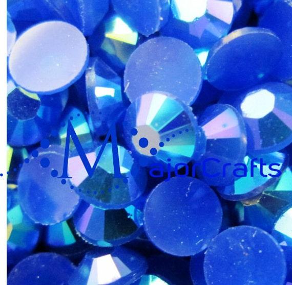 Dark Blue AB Flat Back Round Resin Rhinestones Embellishment Gems C52