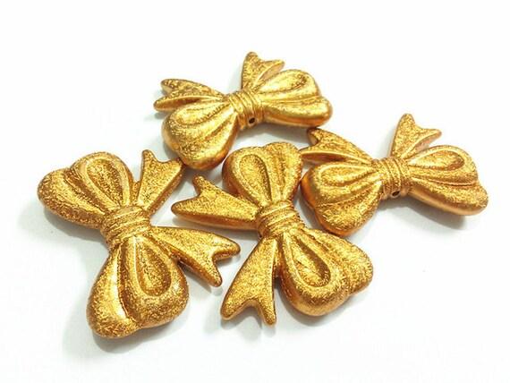 MajorCrafts® 4pcs Shimmer Gold 46*36mm Large Chunky Acrylic Embellishment Bows C28