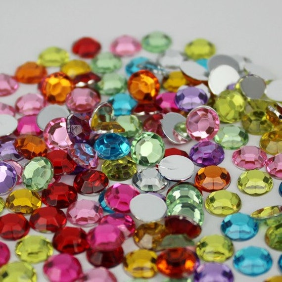 Mixed Colours Flat Back Round Taiwan Acrylic Rhinestones Embellishment Gems
