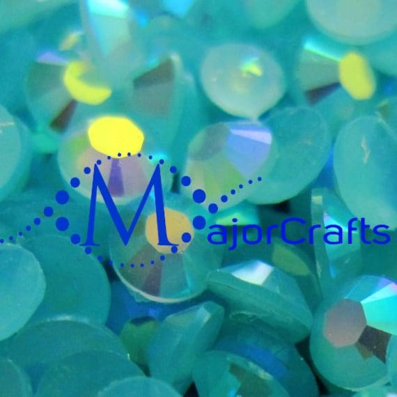 Aquamarine Blue AB Flat Back Round Resin Rhinestones Embellishment Gems C46