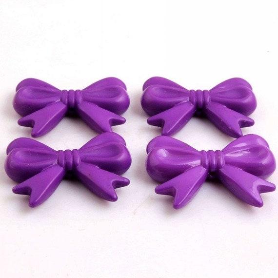 MajorCrafts® 4pcs Dark Purple 46*36mm Large Chunky Acrylic Embellishment Bows C18