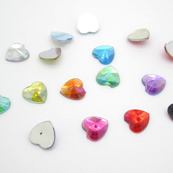 Mixed AB Heart Flat Back Pointed Rivoli Resin Rhinestones Embellishment Gems C11