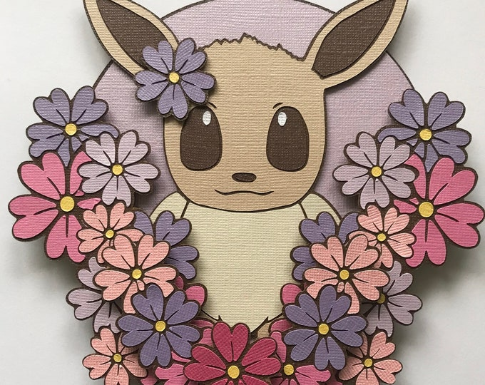 Featured listing image: Floral Eevee Paper Art Shadowbox