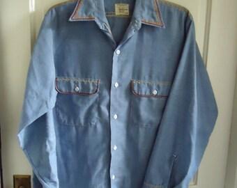 51461880f Vintage 70s BIG MAC CHAMBRAY Embroidered Shirt sz M
