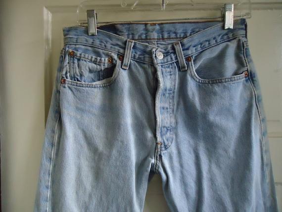 Vintage 90s LEVIS 501 Buttonfly Denim Jeans DISTR… - image 2