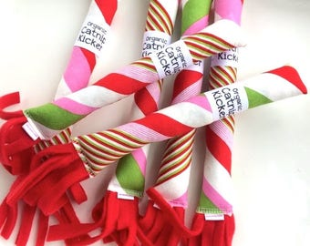 Candy Stripes Cat Toy | Bunny Kick Cat Toy | Organic Catnip Toys | Cat Kicker | Gift for Pet | Gift for Cat | Candy Cane | Catnip Candy