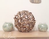 Driftwood Orb, Driftwood Ball, Driftwood Sphere from Isle of Wight Beaches Large 60cm Art Work Marine Nautical Natural Home Beach Wedding