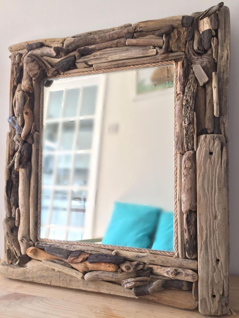 Treibholz Spiegel Wand hängen natürliche Isle Wight-Strand-Haus Dekor  nautischen Hand gemacht 14 \