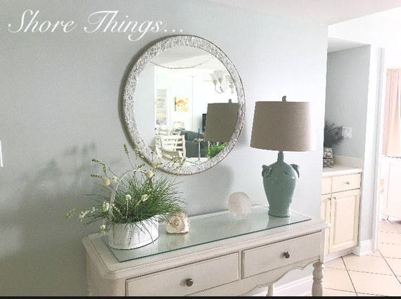 Large Round Sea Glass Mirror Isle Of Wight Beach Home