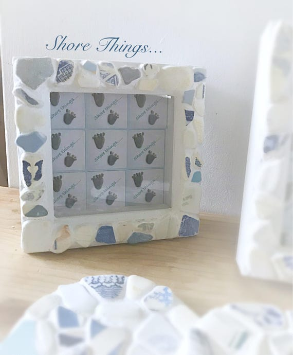 Sea Pottery Photo Frame Nautical Beach Themed Home Decor 5x3 Natural Picture Frame Shabby Chic Blue and White