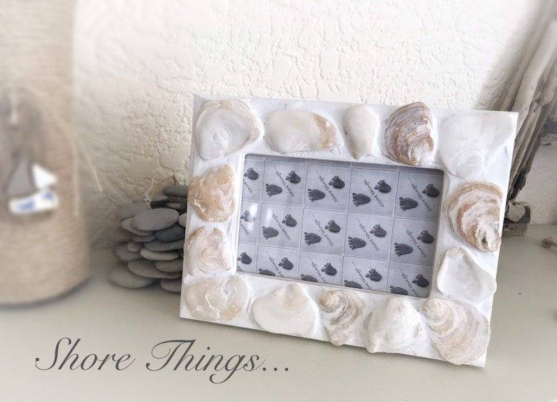 Sea Shell  Oyster Photo Frame Nautical Beach Themed Home Decor 6x4 Natural Picture Frame Shabby Chic