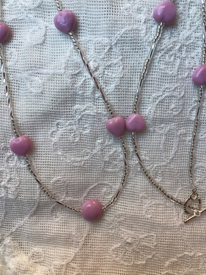 Pink and Silver Long Beaded Necklace