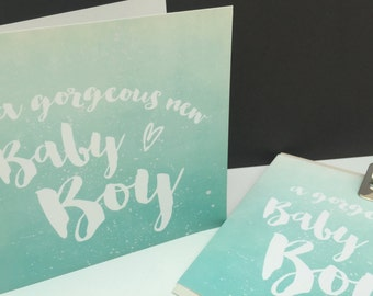 A Gorgeous New Baby Boy - Ombre Greetings Card