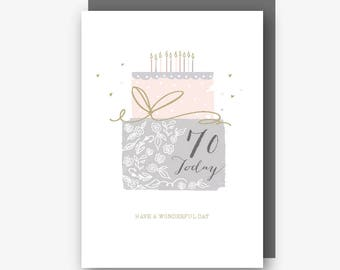 70th Birthday Card - 70 Today - Have a Wonderful Day - With Gold Foil Finishing