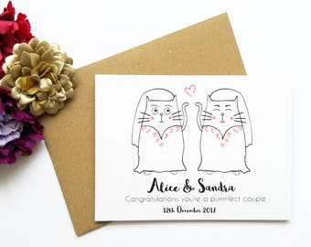 Mrs and Mrs Personalised Wedding Card, Cute Cat Wedding Card, Purrrfect couple, Customised Wedding Card, Civil Ceremony, Newlyweds, LGBTQ
