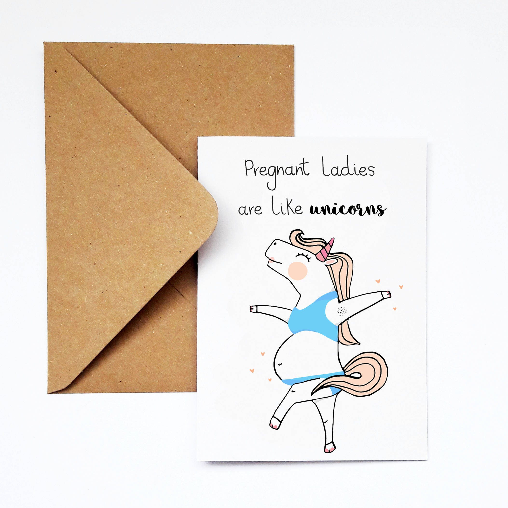 Funny Unicorn Pregnancy Card Cute Baby Shower Card New Baby Etsy