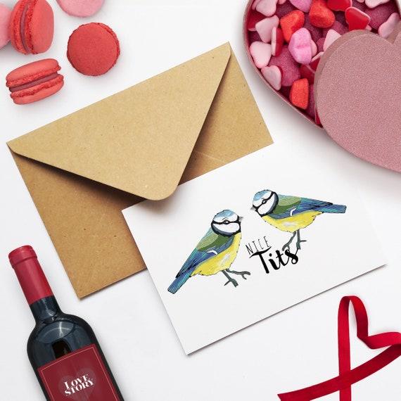 Lustige Blue Tit Valentinstag Vogel Card Wortspiel Tier Karte Etsy