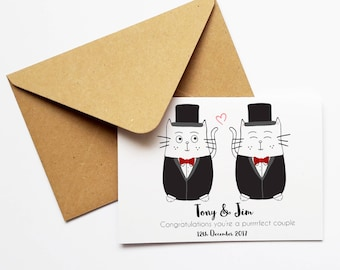 Mr and Mr Personalised Wedding Card, Cat Wedding Card, Civil Ceremony Customised Card, Congratulations On Your Wedding Day, Newlyweds, LGBTQ