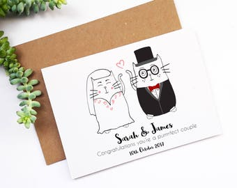 Mr and Mrs, Personalised Wedding Card, Cute Cat Wedding Card, Customised Greetings Card, Congratulations On Your Wedding Day, Newlyweds