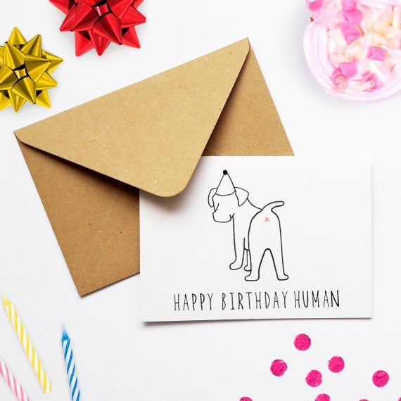 Funny Dog Birthday Card For A Lover Happy Human From The Joke Animal Owner Pet