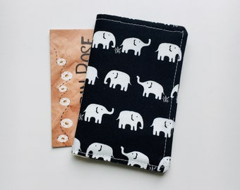 Huge Grey Elephant With Two Ivory Blocking Print Passport Holder Cover Case Travel Luggage Passport Wallet Card Holder Made With Leather For Men Women Kids Family
