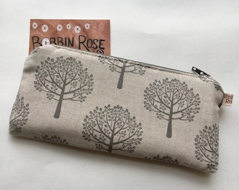 dcb8801d00 ... purchase zip purse mulberry tree zip pouch in grey and natural linen  cotton fabric 6447d 1b22b