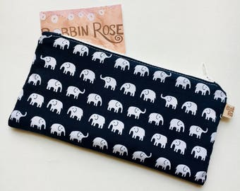 Zip purse, mini elephants zip pouch in cute elephant navy fabric
