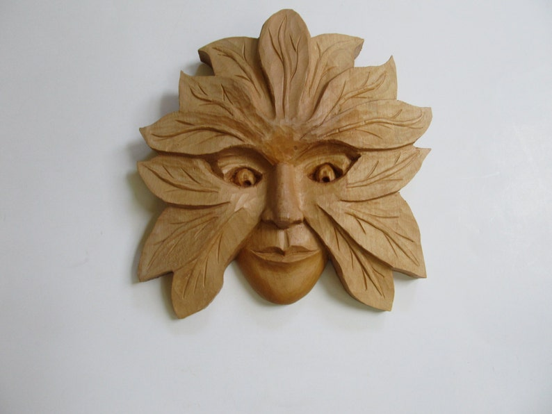 SALE Wood Sculpture Green Woman Art Wood Sculpture Wood Carving Woman's  Face Wall Decor Hand Carved Birthday Gift wall plaque
