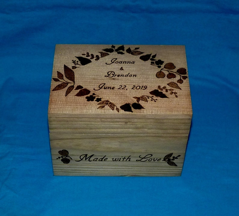 Recipe Box 4x6 Custom Engraved Floral Recipe Card Holder Flower Bridal Recipe Box Hand Crafted Large Wood Decorative 5x7 Bridal Shower Gift