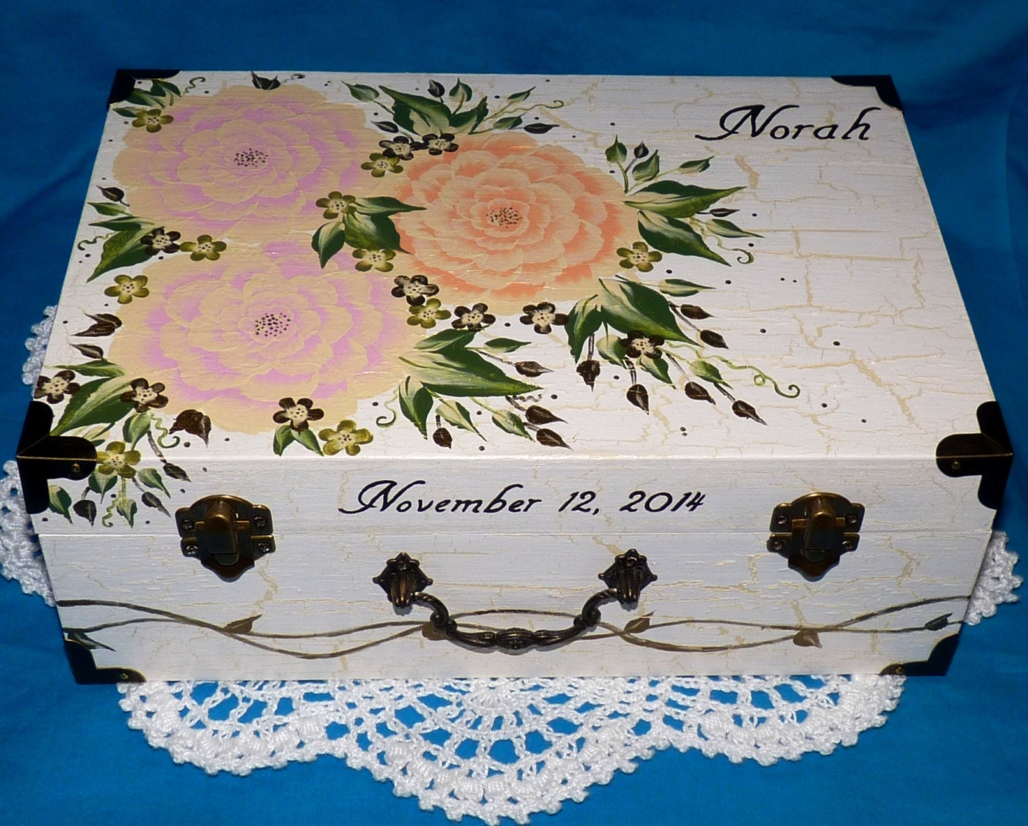 Custom Painted Flower Wedding Suitcase Card Box Gift Personalized Wedding Keepsake Box Hand Crafted Floral Memory Box Peony Wedding Gift