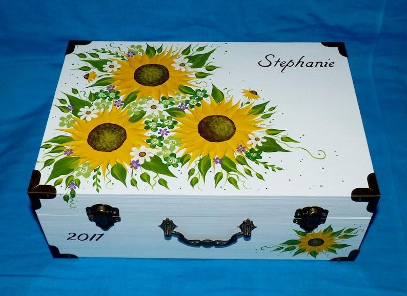 Personalized Custom Wood Wedding Keepsake Box Wooden Sunflower Wedding Suitcase Box Decorative Painted Sunflower Wedding Card Holder Gift